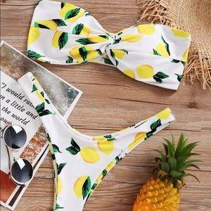 Other - 🍋 Lemon Pattern Bandeau Bikini Set 🍋 Sz 8